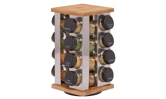 16 Jar Spice Rack With Spices Groupon Goods