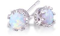 2.00 CTW Genuine Opal Crown Stud Earrings | LivingSocial