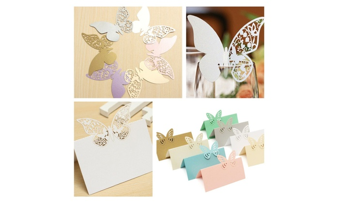 20 PCS Butterfly Wedding Party Place Card Wine Glass Decoration