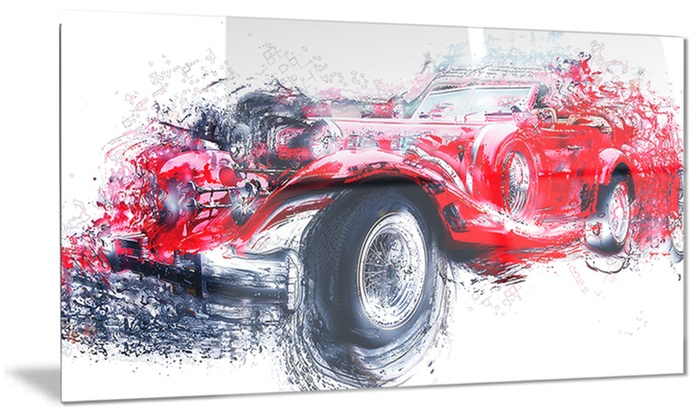 Red Vintage Classic Car Metal Wall Art 28x12