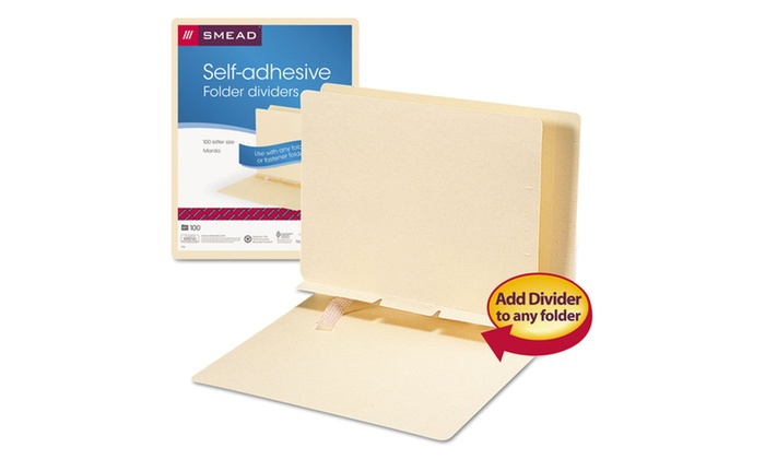 Smead Self-Adhesive Folder Dividers for Top/End Tab Folders Groupon