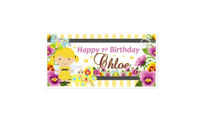Yellow Fairy First Birthday Banner Groupon