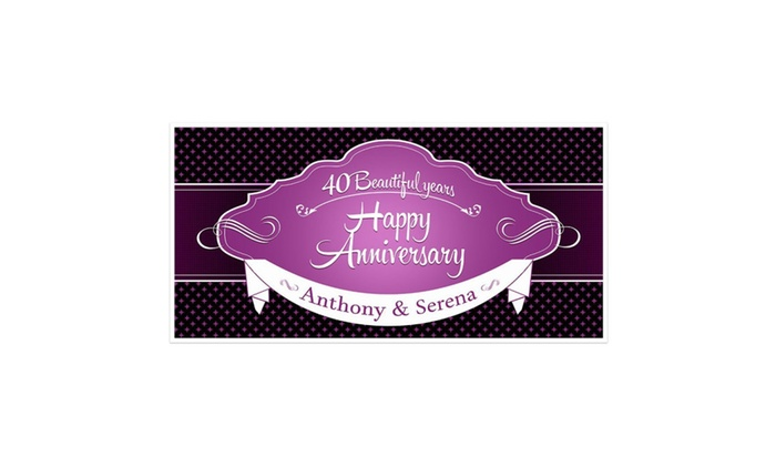 Happy Anniversary Banner Personalized Party Backdrop Groupon