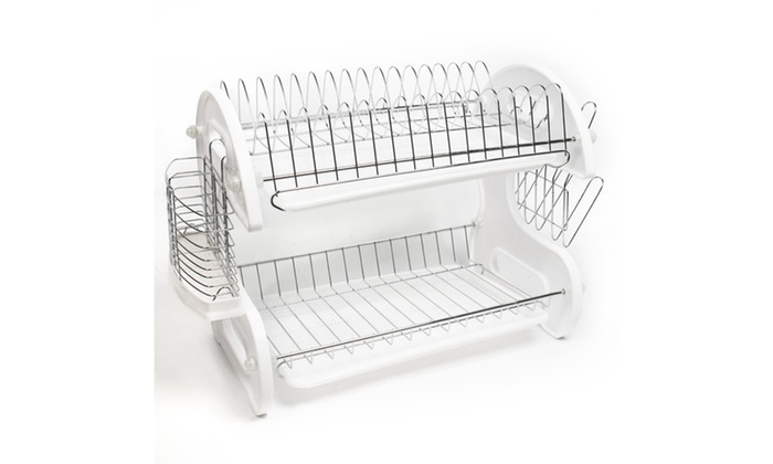 Home Basics 2 Tier Dish Rack Extraordinary Cozy Home Basics White 60 Tier Kitchen Sink Dish Drainer Set Groupon