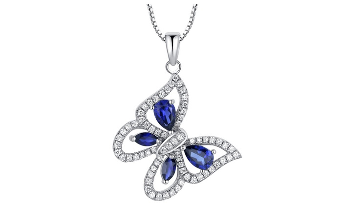 Sterling Silver Butterfly W 2ct Teardrop And Marquise