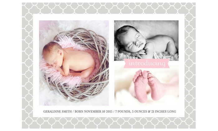 25, 50 or 100 Custom Photo Birth Announcement Cards Groupon