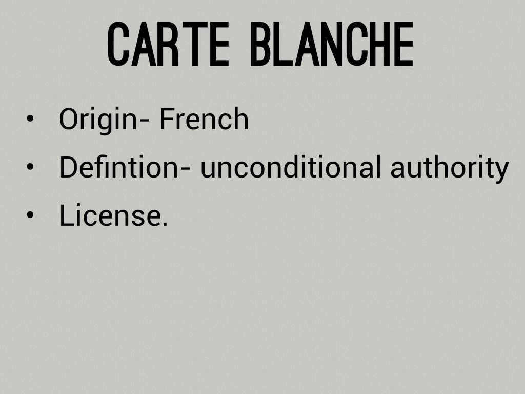 Carte Blanche French Foreign Words By David Priebe