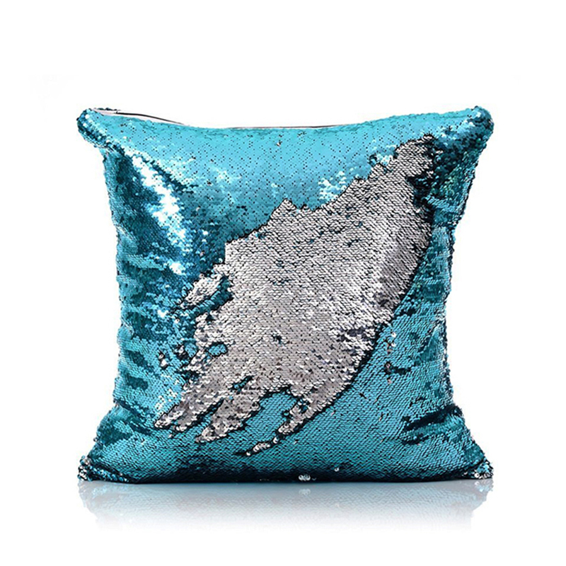 Bathroom Mirror Led Light Mermaid Pillow Cover Blue Silver Change Color Sequins