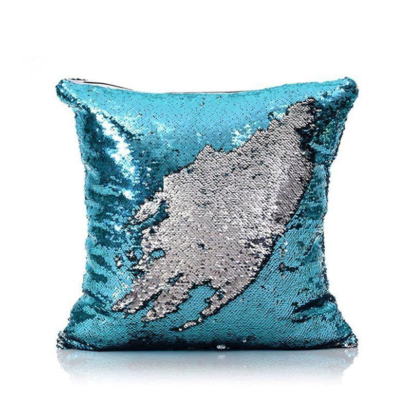 Mermaid Pillow Cover Blue/Silver Change Color Sequins