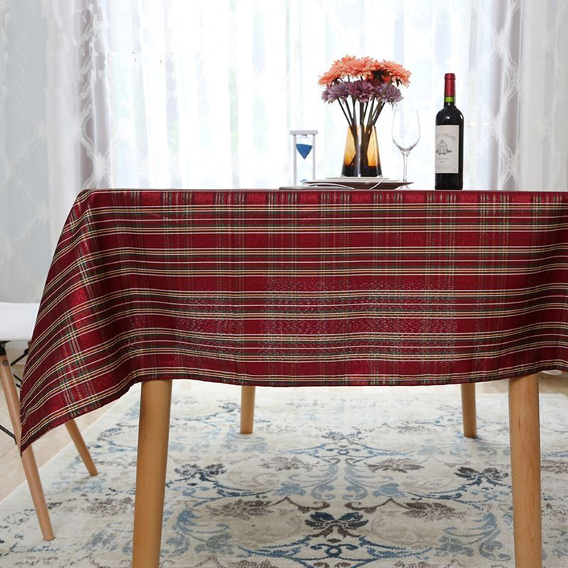 Kitchen Shelves With Hooks Festive New Year Plaid Western Tablecloth Tea Table Cloth