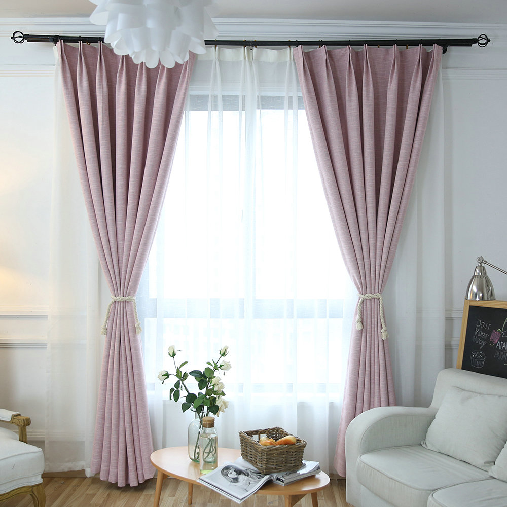 Vorhang Altrosa Light Pink Blackout Curtain Room Darkening Curtain For Kids Room Living Room Bedroom (one Panel)