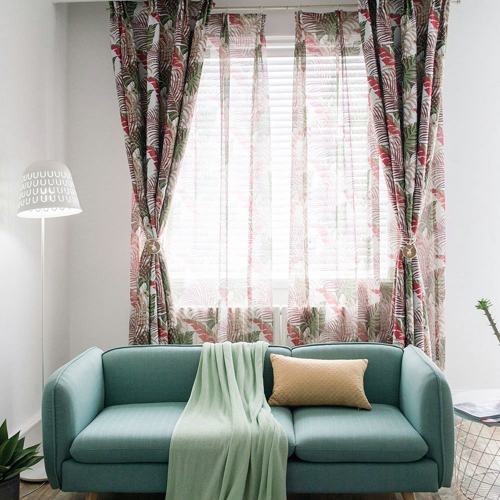 Gardinen Modern Design American Rural Sheer Curtain Unique Leaves Embroidery Sheer Curtain Breathable Fabric(one Panel)