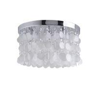 White Shell + Crystal Flush Mount light