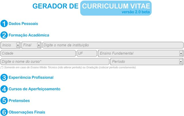 Gerador de Curriculum Vitae Download