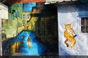 [親子.雲林虎尾]療癒系●頂溪里貓彩繪村●屋頂上的貓