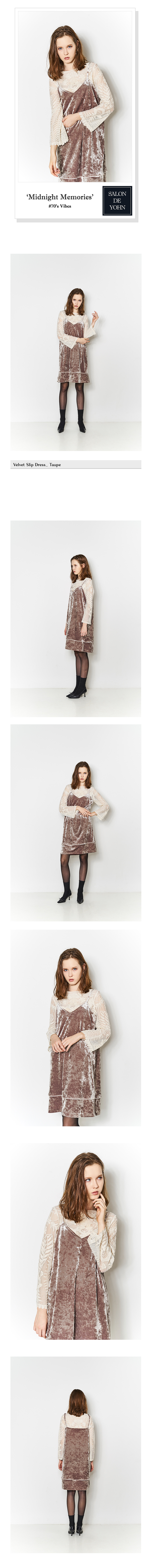 Salon Taupe Velvet Slip Dress Taupe
