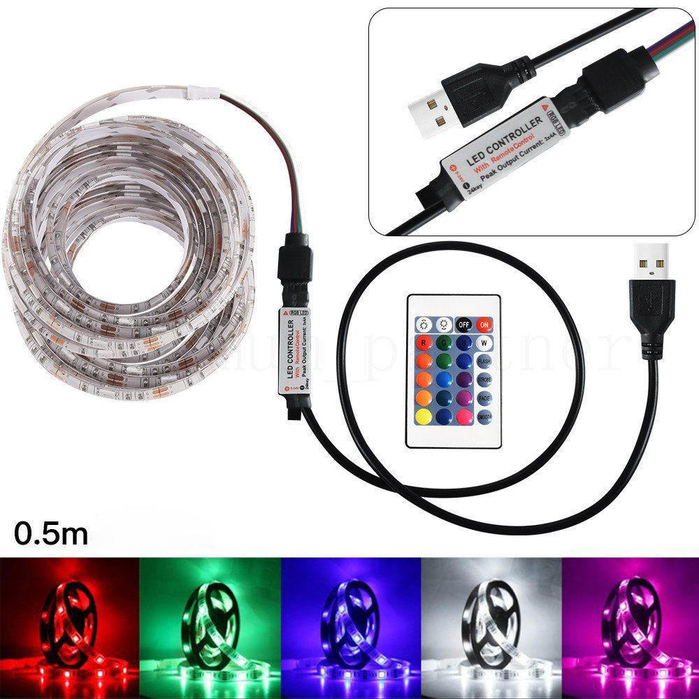 50 100 200 500cm Usb Led Strip Light Tv Back Lamp 5050rgb Colour Changing Remote Control Buy At A Low Prices On Joom E Commerce Platform