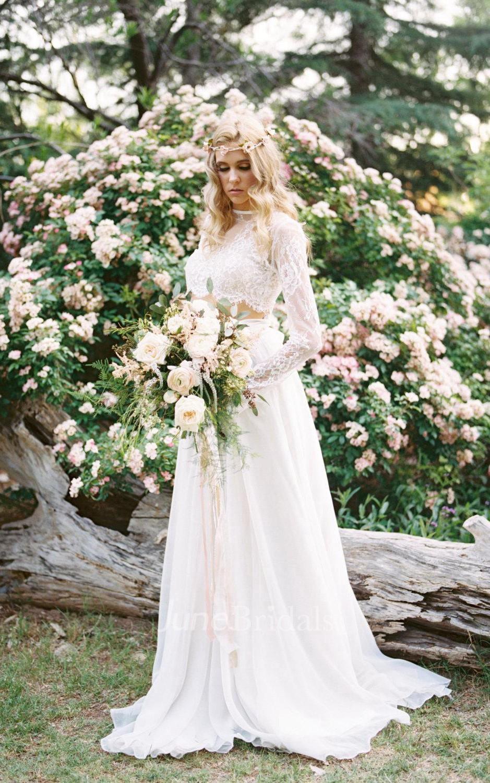 long sleeve wedding dresses wedding dress long sleeve Wedding Separate Florence Skirt Chiffon 10 Train Dress