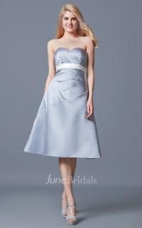 Strapless Ruched A-line Satin Tea Length Satin Dress ...