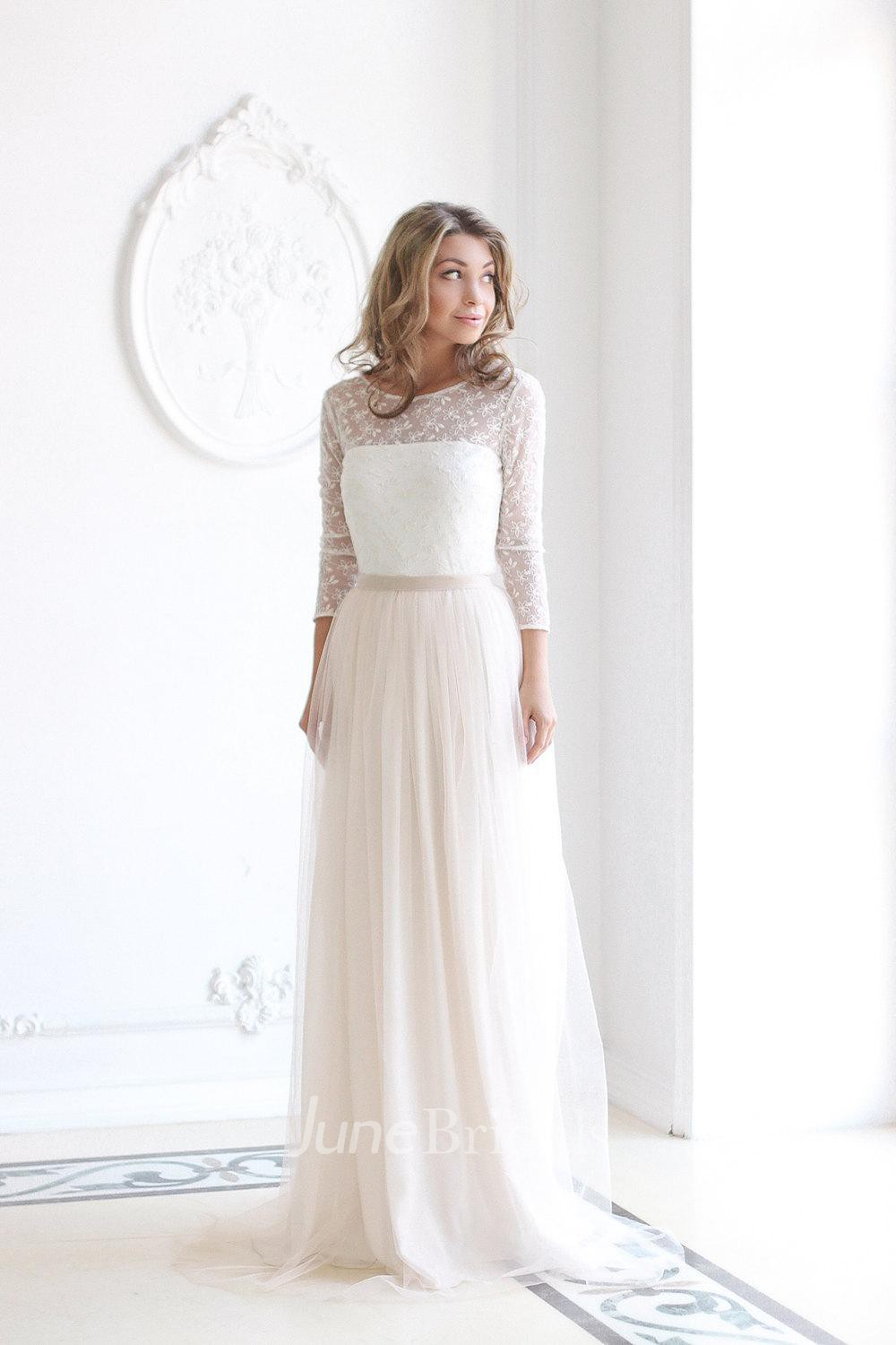 modest wedding dresses modest wedding dresses cheap Scoop Neck Long Sleeve Tulle Wedding Dress With Lace Bodice