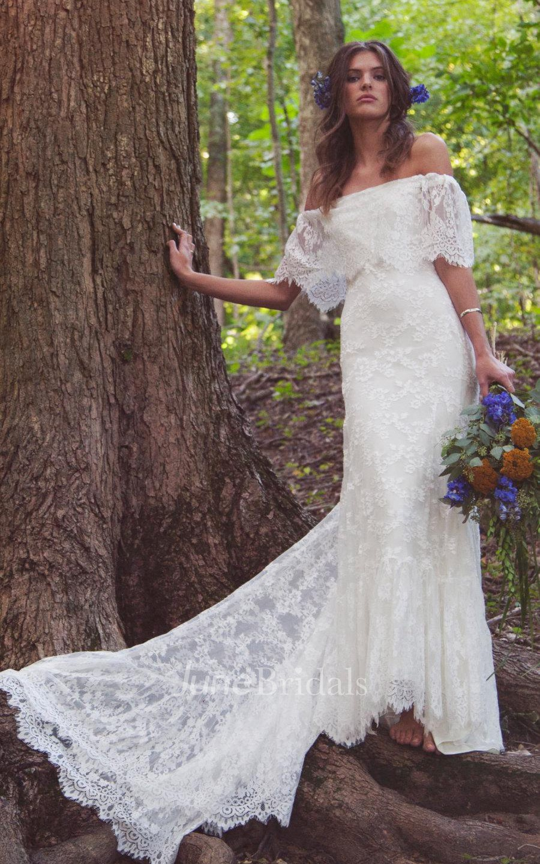 boho off shoulder sheath scalloped lace wedding dress with long train pET boho wedding dress Boho Off Shoulder Sheath Scalloped Lace Wedding Dress With Long Train
