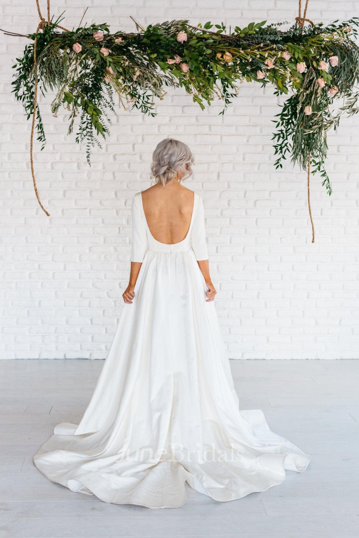 cheap wedding dresses wedding dresses cheap Modern Simple Long Sleeve A Line Satin Wedding Dress With Open Back