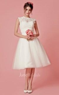 Cap Sleeved A-Line Knee Length Wedding Dress With Jacket ...