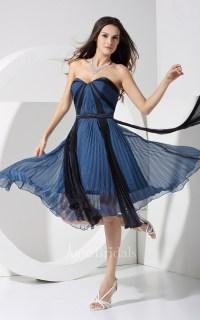 Strapless Chiffon Tea-Length Dress With Pleats - June Bridals
