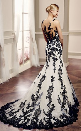 White And Black Wedding Dress Gowns Two-Tone Bridal Dresses - June - wedding photo black and white