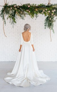 Modern Simple Long Sleeve A-Line Satin Wedding Dress With ...