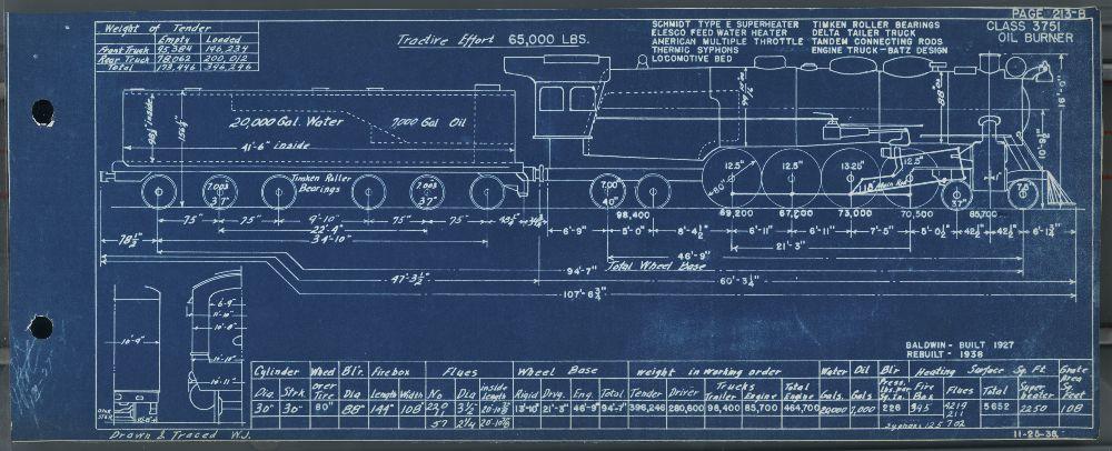 Engine diagram for steam locomotive #3751 - Kansas Memory - Kansas