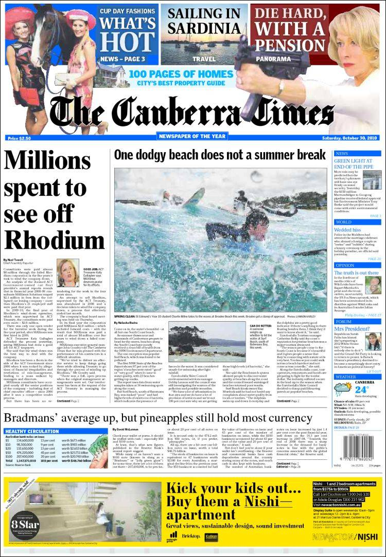 Canberra Today Newspaper The Canberra Times Australia Front Pages From
