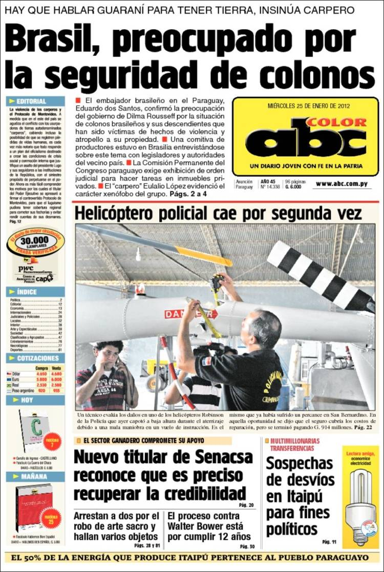 Arte Sacro Paraguay Newspaper Abc Color Paraguay Newspapers In Paraguay