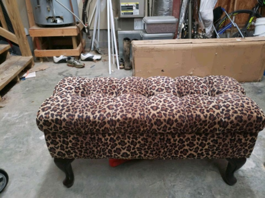 Used Leopard Pattern Upholstered Bench With Storage For
