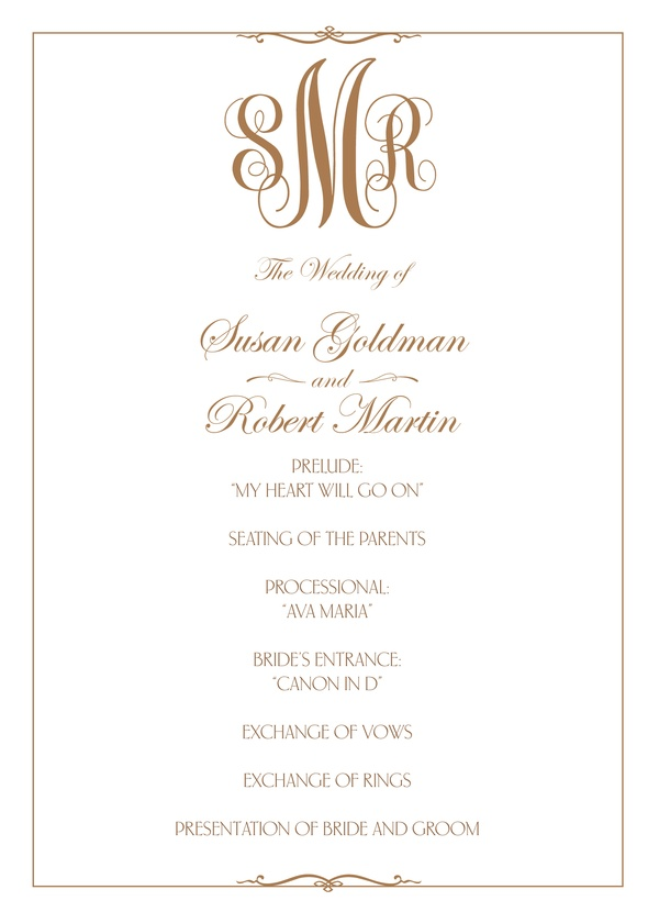 Classic Monogram - Wedding Program Kleinfeld Paper - wedding program