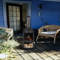 iKayaa Chimney Metal Patio Garden Outdoor Fire Pit ...