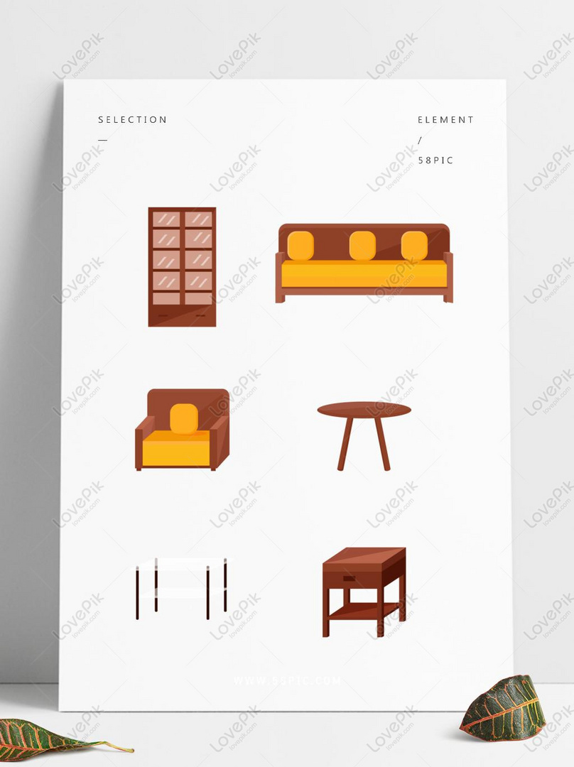 Sofa Set Vector Free Download Vector Minimalistic Cartoon Cute Furniture Wooden Cabinet Sofa T