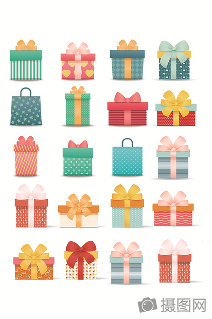 Lovely birthday box gift box package vector material creative - gift box templates free download