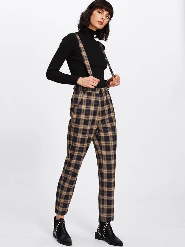 Plaid Tapered Pants With Strap -SheIn(Sheinside)