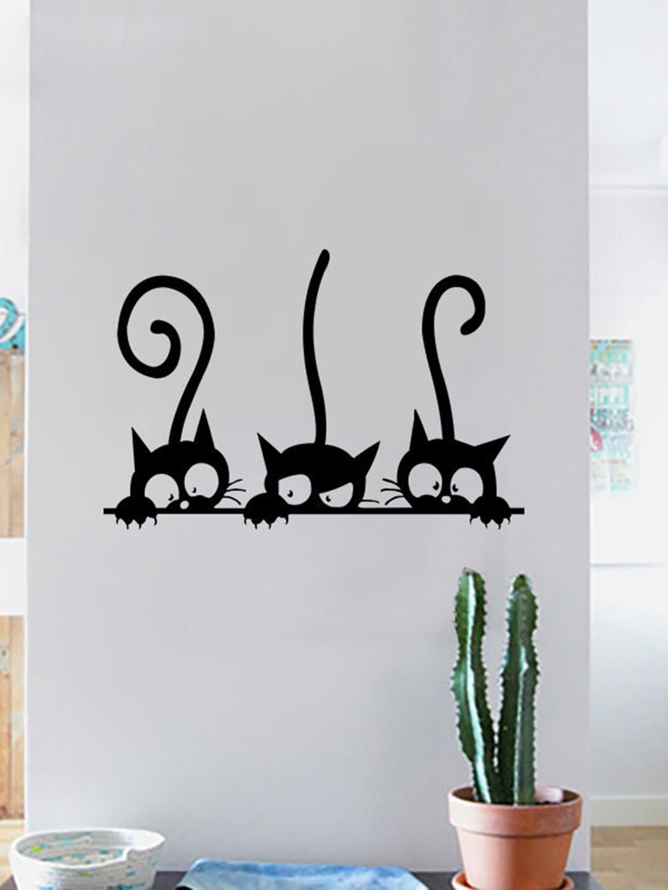 Adhesivo Decorativo Para Paredes Adhesivo Decorativo Para Pared Con Gatos Spanish Shein