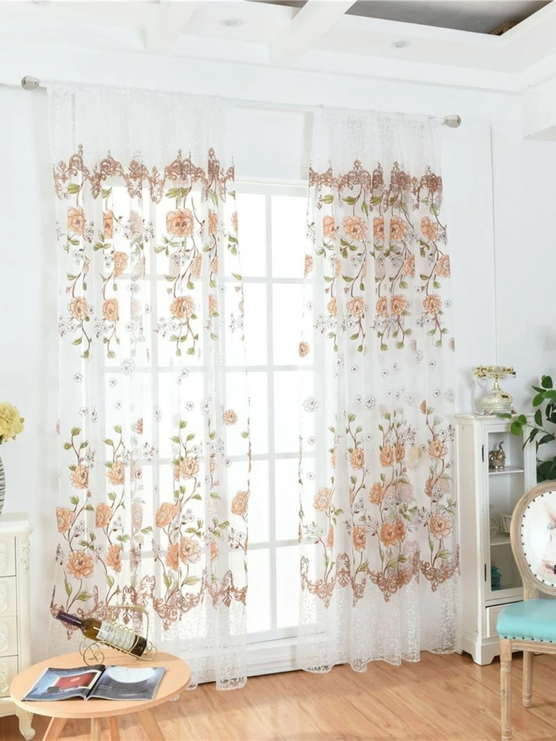Sheer Curtains Australia Flower Pattern Rod Pocket Sheer Curtain 1pc