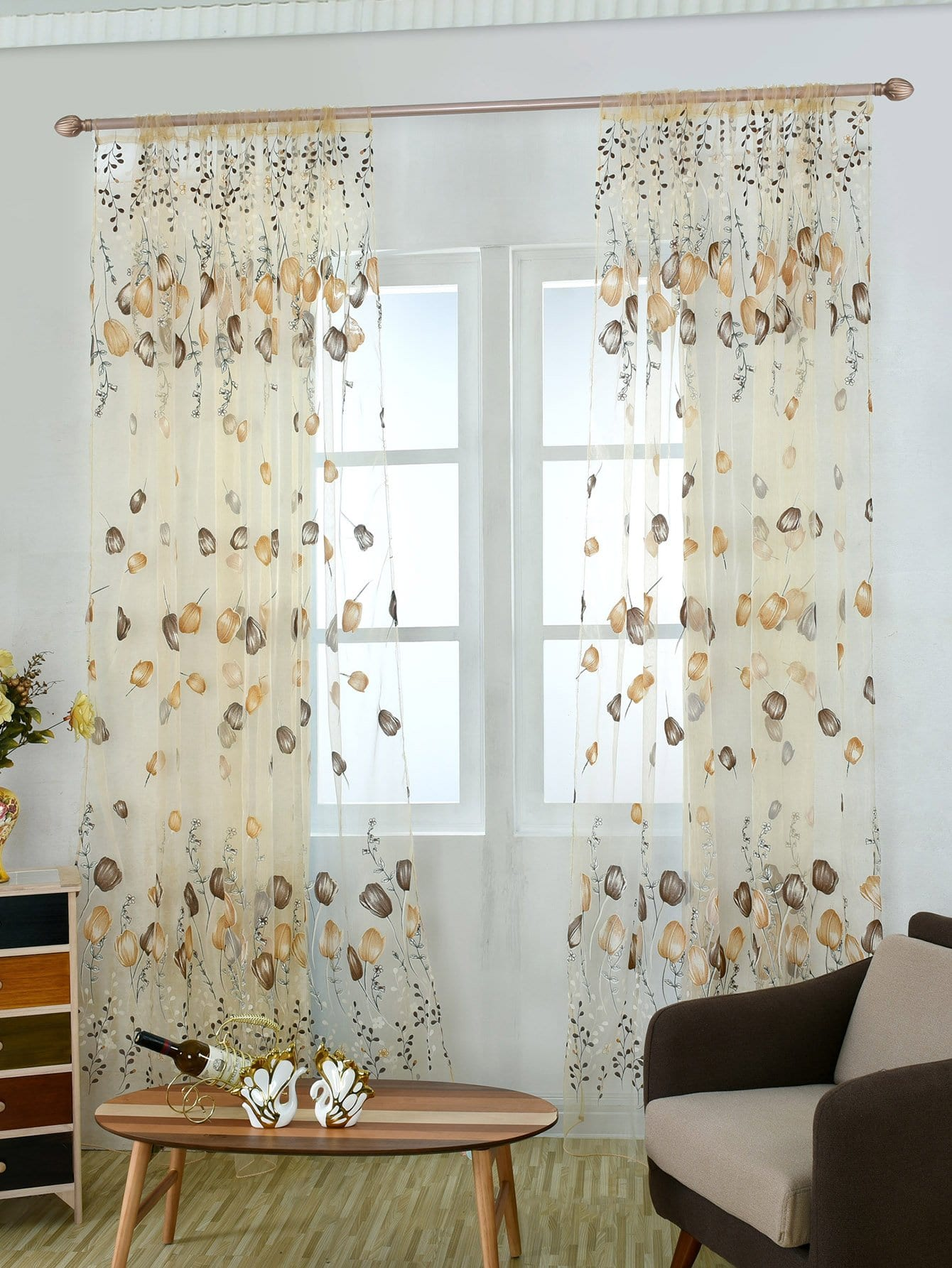 Sheer Curtains Australia Flower Print Eyelet Sheer Curtain 1pc