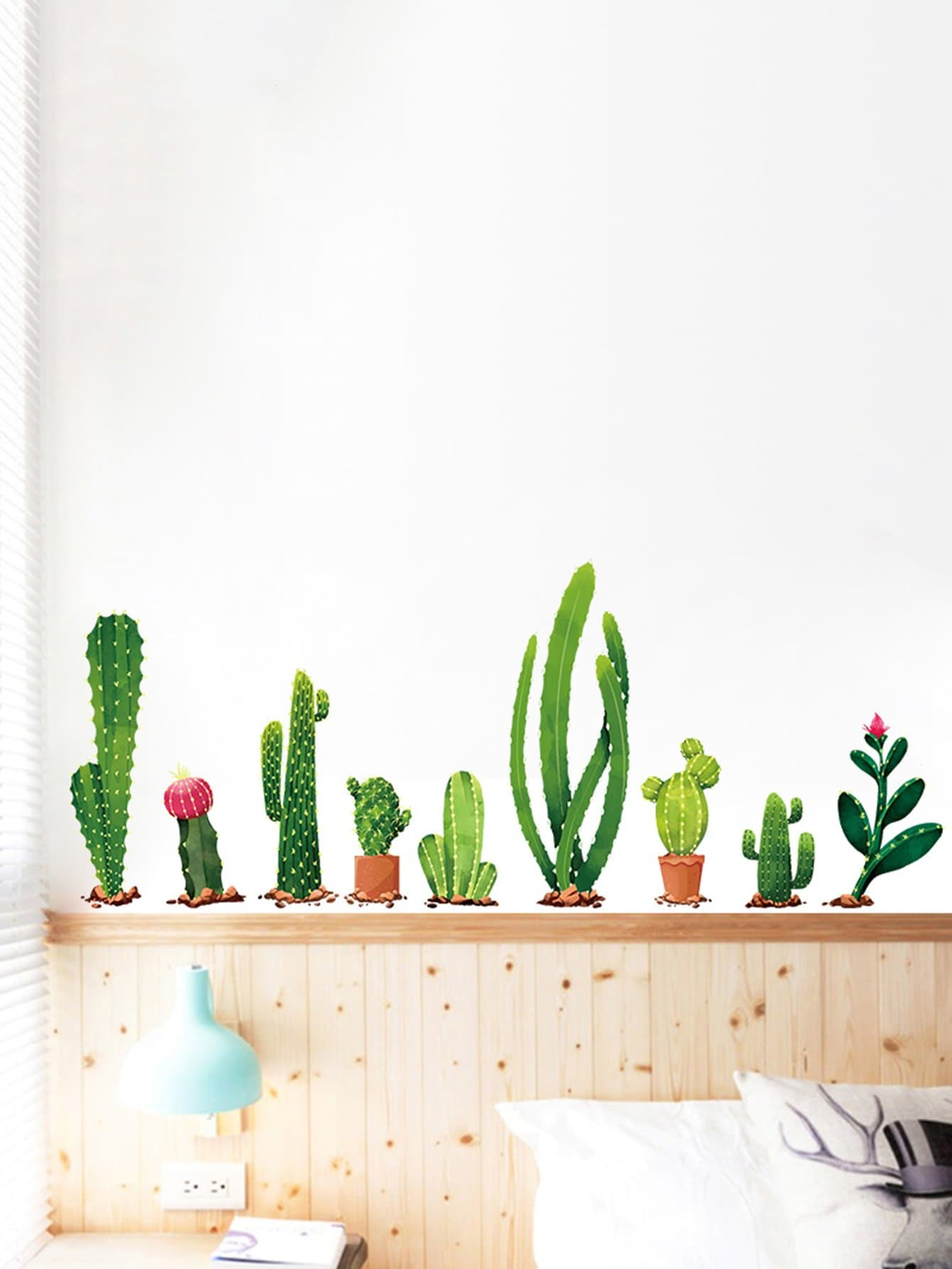 Adhesivo Decorativo Para Paredes Adhesivo Decorativo De Pared De Cactus Spanish Shein