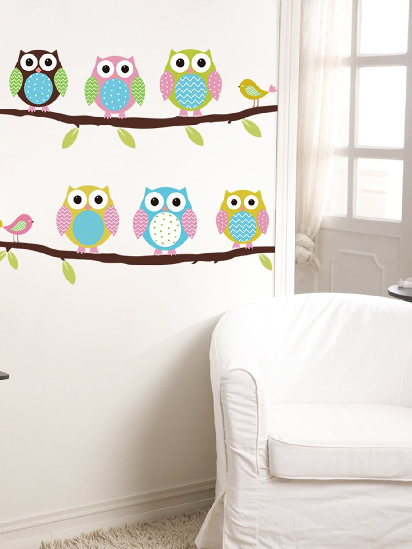 Adhesivo Decorativo Para Paredes Adhesivo Decorativo De Pared Con Búhos Spanish Shein
