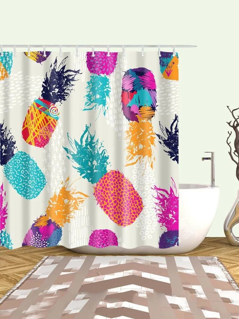 Cute Girly Shower Curtains Pineapple Shower Curtain With 12pcs Hook