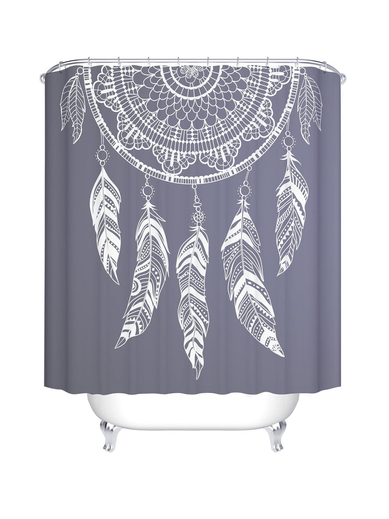 Cute Girly Shower Curtains Dreamcatcher Print Shower Curtain With 12pcs Hook