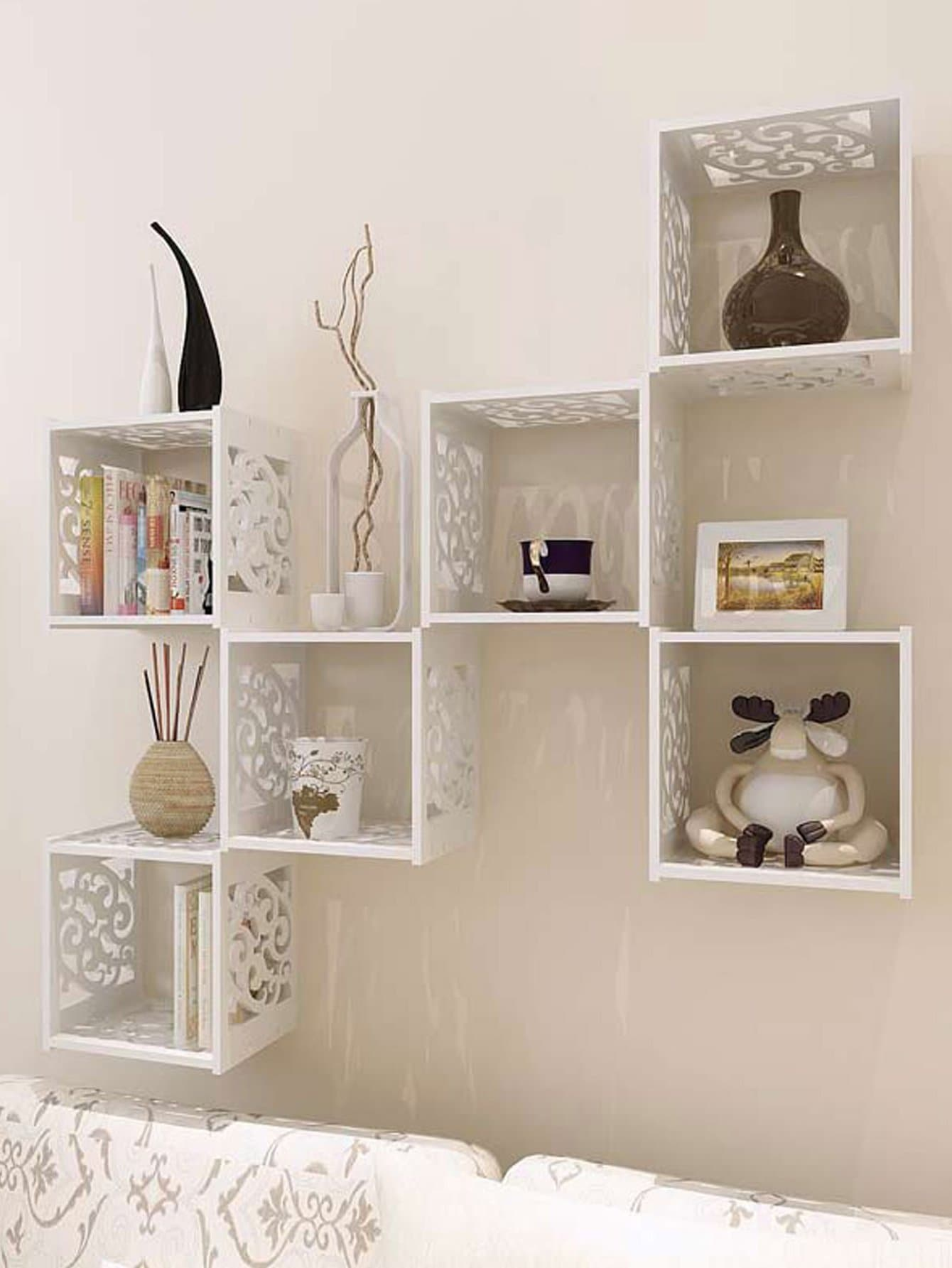 Wall Grid Hollow Grid Cantilever Wall Shelf 1pc