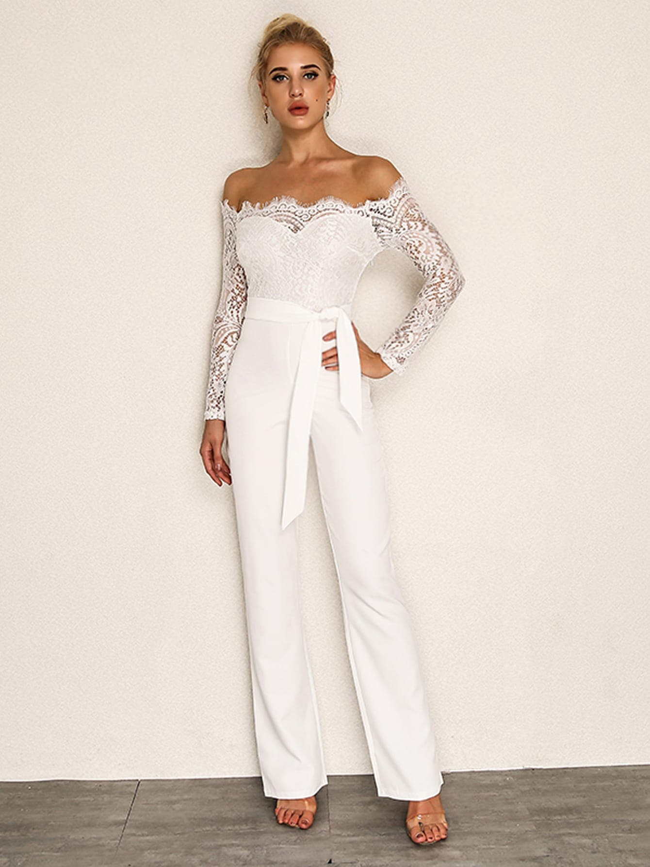 Hochzeit Jumpsuit Joyfunear Eyelash Lace Overlay Self Belted Jumpsuit Shein