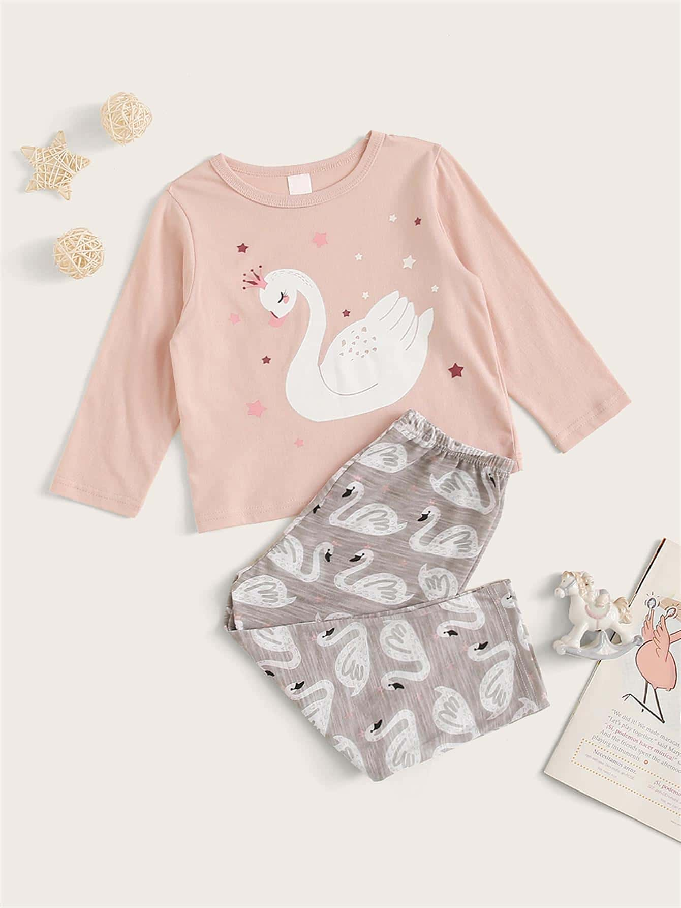 Britax Duo Twin Dolls Buggy Hot Pink Toddler Girl Swan Print Pj Set