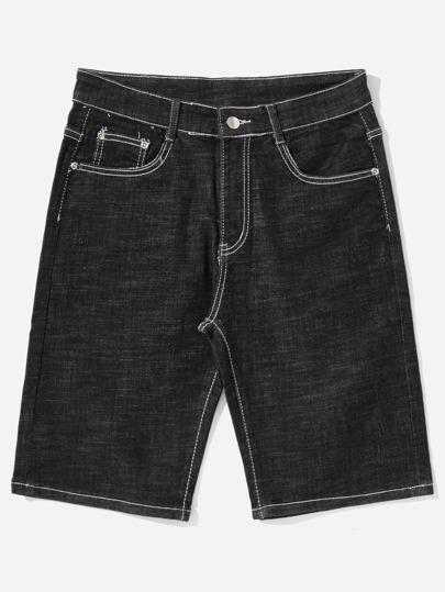 Men Contrast Stitching Denim Shorts -SheIn(Sheinside)
